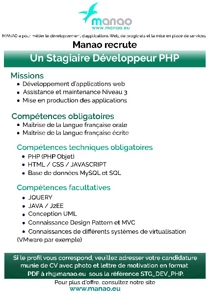 recrutement d u0026 39 urgence   stagiaire developpeur php