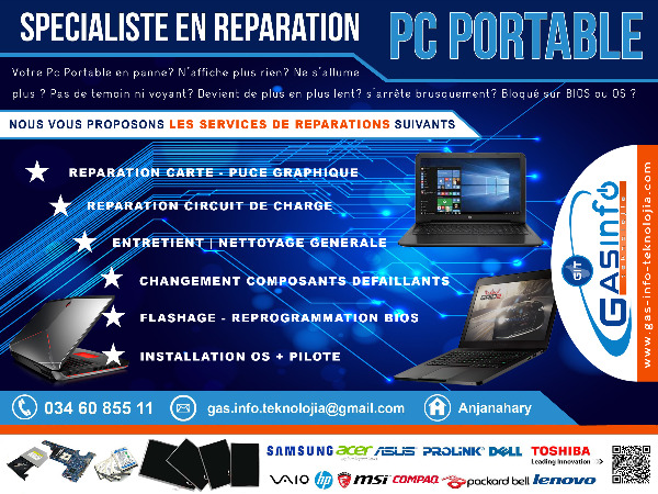 Photo 1 - SPECIALISTE EN REPARATION PC PORTABLE A MADAGASCAR