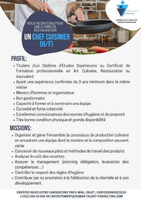 Chef Cuisinier H F Emploi Et Services Madagascar 48028